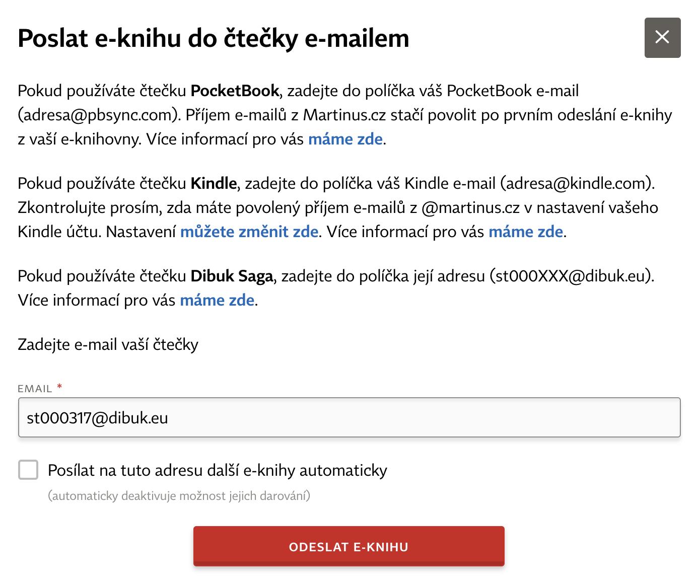 """215cdb94a Tip:Pokud kliknete na políčko """"Posílat na tuto adresu další e-knihy  automaticky"""", každá další e-kniha, kterou si koupíte, se vám pošle do  čtečky ihned po ..."""