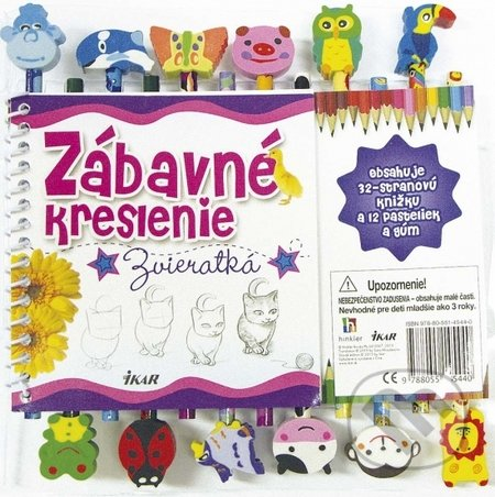 Kniha Zabavne Kreslenie Zvieratka 12 Pasteliek A Gum Kolektiv