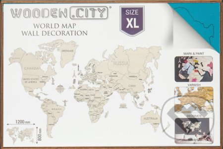 Mapa Sveta XL – korálová - WOODENCITY