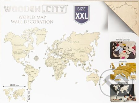 Mapa Sveta XXL - WOODENCITY