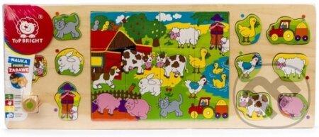 Dřevěná skládačka 3v1 - Farma - Top Bright