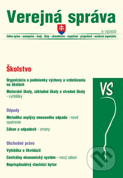 Verejná správa 9-10/2020 - Školstvo, odpady a obchodná likvidácia - Kolektív autorov