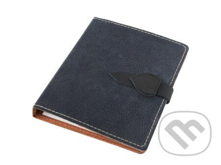Kožený diář A5: černý kovový - Obaly na knihy