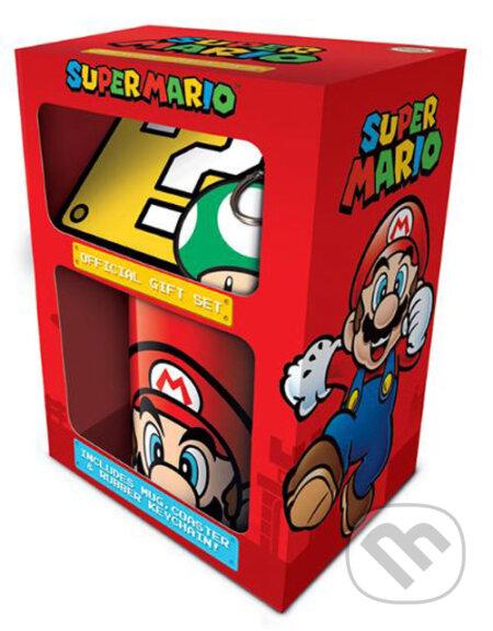 Dárkový set Super Mario: hrnek - přívěsek - tácek (objem hrnku 315 ml)