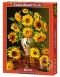 Sunflowers in a Peacock Vase -